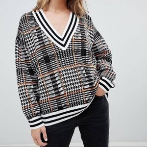 ASOS Plaid Varsity V Neck Sweater with Tipping